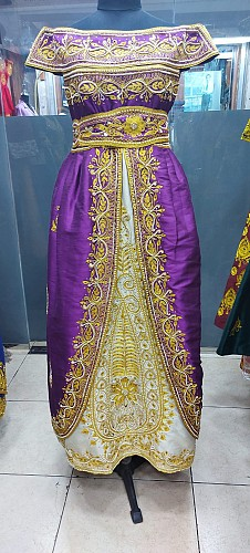 Purple dress with Hand work & embroidery