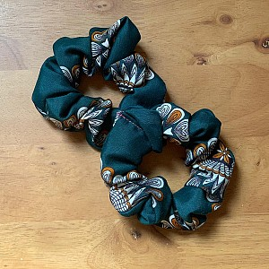Green Floral Scrunchies