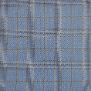 Checkered Pattern Light Blue Suit by Mozzo