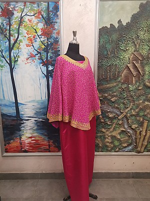 Pink top with Gold embroidery & Red dress