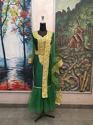 Green dress with Gold embroidery