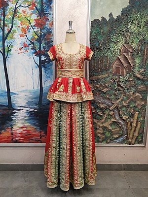 Red & Green Henna dress with Gold embroidery