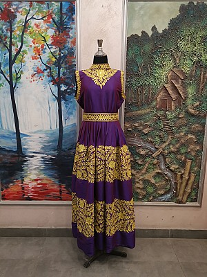 Purple dress with Gold embroidery