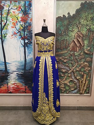 Blue dress with Gold embroidery