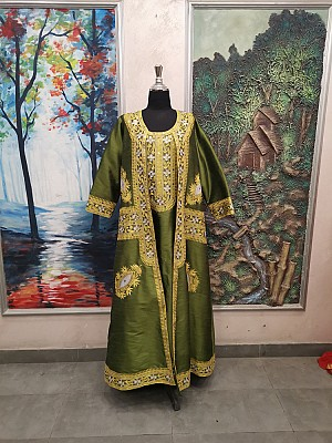 Green dress with Gold & Silver embroidery