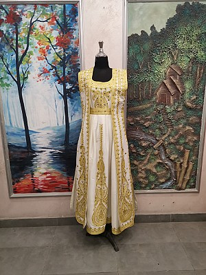 White dress with Gold embroidery