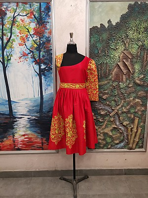 Red dress with Gold embroidery