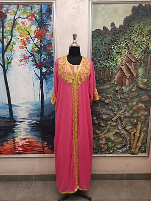 Pink dress with Gold embroidery