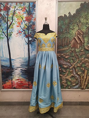 Light Blue dress with Gold embroidery