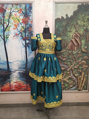 Peacock Green dress with Gold embroidery
