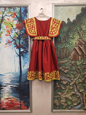 Maroon dress with Gold embroidery