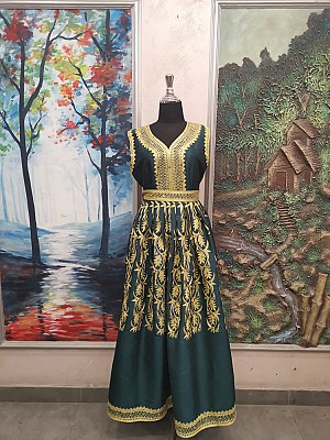 Dark green dress with Gold embroidery