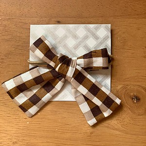Brown gingham hair tie